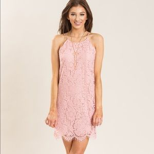 Pink Lace Shift Dress with Scallop Details