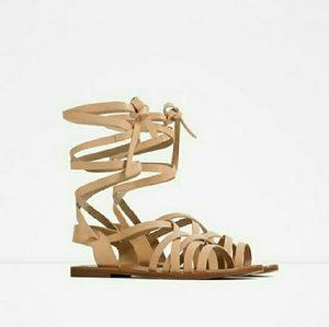 Zara Flat Leather Gladiator Roman sandals tie 8 39