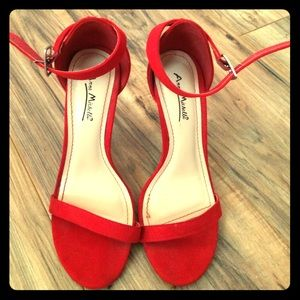 Anne Michelle Shoes - Stunning Red Suede Heels