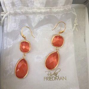 Rivka Friedman Orange Double Dangle Earrings