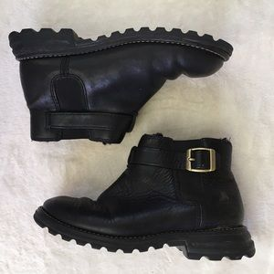 Black Leather Ugg Ankle Boots