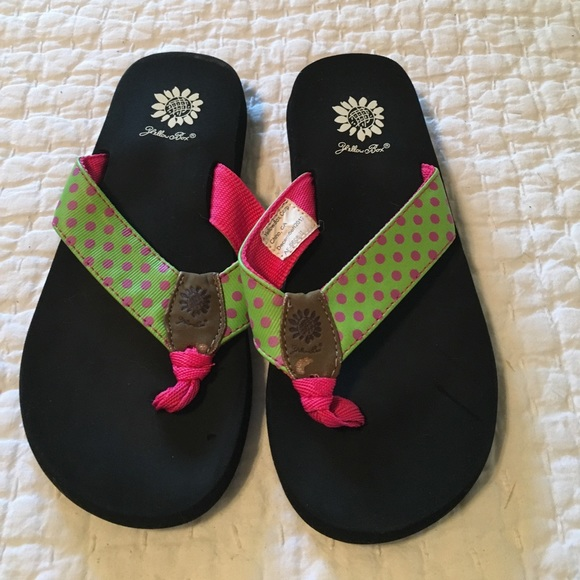 Yellow Box Shoes  Flip Flops Cute Green Pink Polkadots  Poshmark-4161