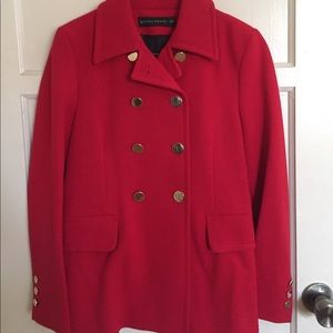 Zara red coat w/ gold buttons