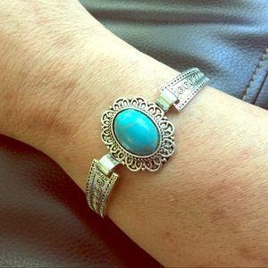 Ersatz Turquoise Silver Plated Bangle Bracelet
