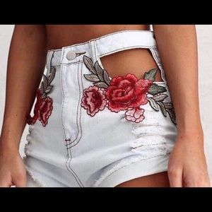 Pants - Rose embroidered high waist denim shorts 🌹