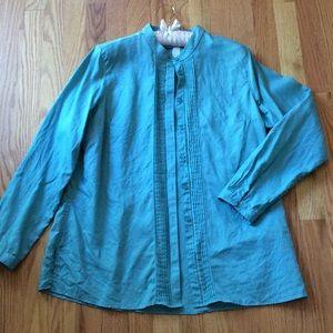 L.L. Bean Tops - Aqua blue/green linen button up!