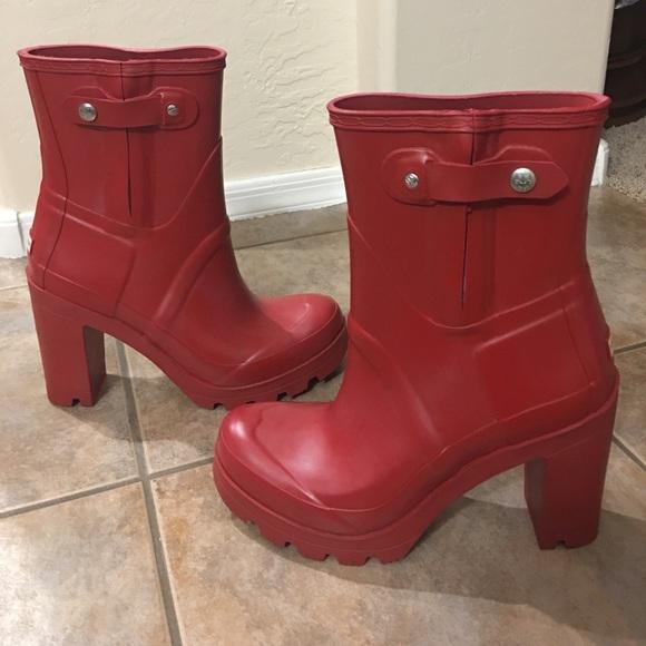 d68412852 Hunter Shoes | New Original High Heel Boot Wellies Red 9 | Poshmark