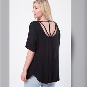 Tops - PLUS -- Dahlia Open Strappy Back Top