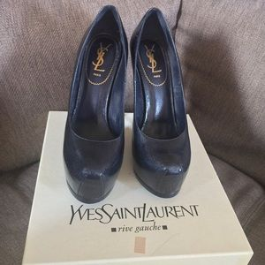 Yves Saint Laurent Shoes - YSL Tribtoo Navy Patent Pump