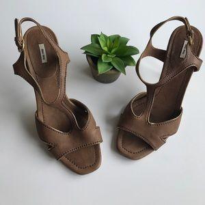 Miu Miu Shoes - Miu Miu Brown Leather Heels