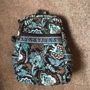 Vera Bradley, small blue and brown backpack