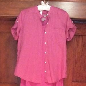 J. Jill Tops - Pink linen top with short sleeves! Size XS.
