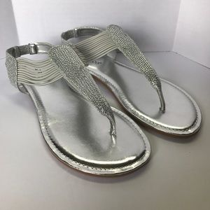 Bamboo Sequoia Silver Sandals size 7 1/2