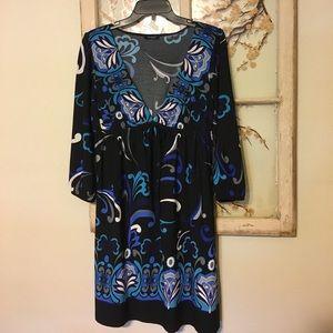 Rhapsody Dresses & Skirts - Rhapsody Blue Patterned Boho Style Dress