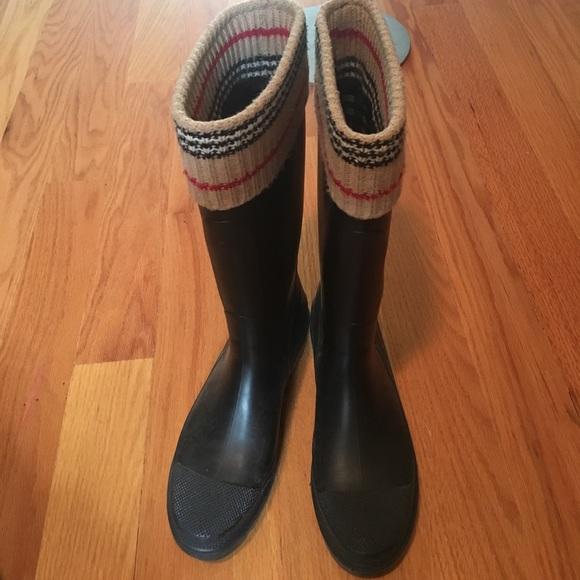 Burberry tall rain boots