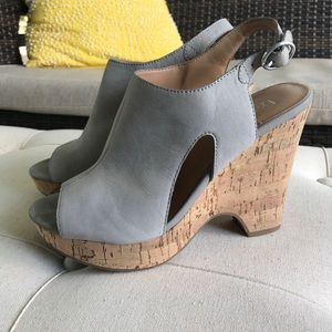 Franco Sarto Gray Suede Leather Cork Clog Sandal