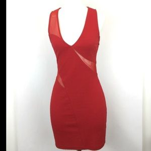 ASTR Mesh Red Bodycon Dress