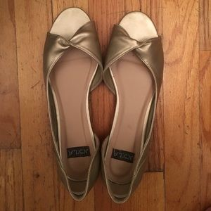 N.Y.L.A. Shoes - Gold Twist Peep Toe Flats