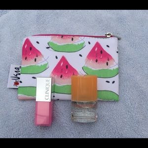 Clinique Handbags - Clinique Mini Cosmetic Makeup Bag Happy Lip Gloss