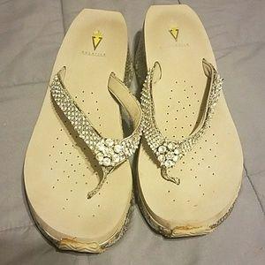 Volatile Shoes - Bling snake print flip flops from Dillards