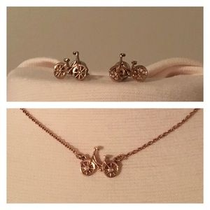 Fossil Bicycle Necklace & Earrings -Rose Gold Tone