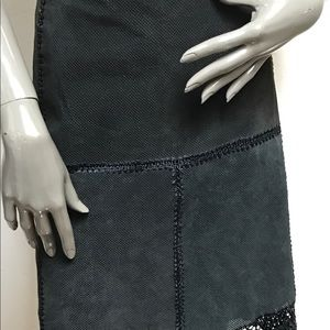 Dresses & Skirts - Suede skirt with macramé detailing