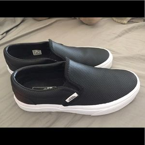 ❌SOLD. Black leather slip on vans