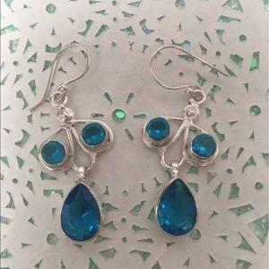 Blue topaz gemstone earrings 925 dangles