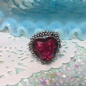 Heart ring pink Rubellite stone ring vintage