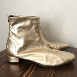 Topshop gold ankle boots size 39