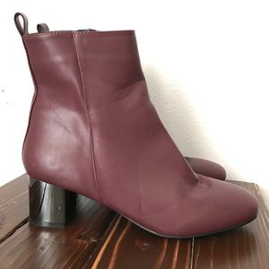 Topshop maroon ankle boots size 39