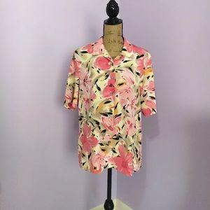 Alia Tops - Short Sleeve Button Down Top Floral Alia Size 10