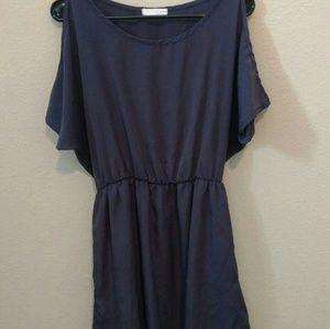 Lush Dresses & Skirts - FLASH SALE! Lush Navy Open Shoulder Dress