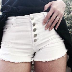 Tinseltown Pants - Distressed High Waist Jean Shorts