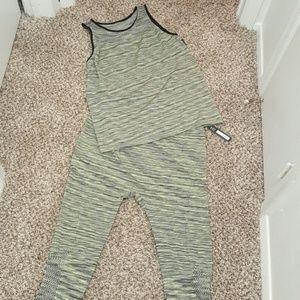 Other - Gray/Lime Green Tank/Legging Set NWOT