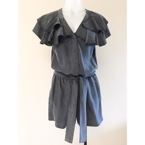 Blue Silk romper w/ruffle collar sleeves - size 2