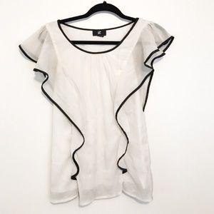 Iz Byer Tops - White Metallic Ruffled Dress Blouse.