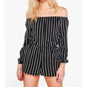 Boohoo Petite Dresses & Skirts - Boohoo Off The Shoulder Playsuit/Romper