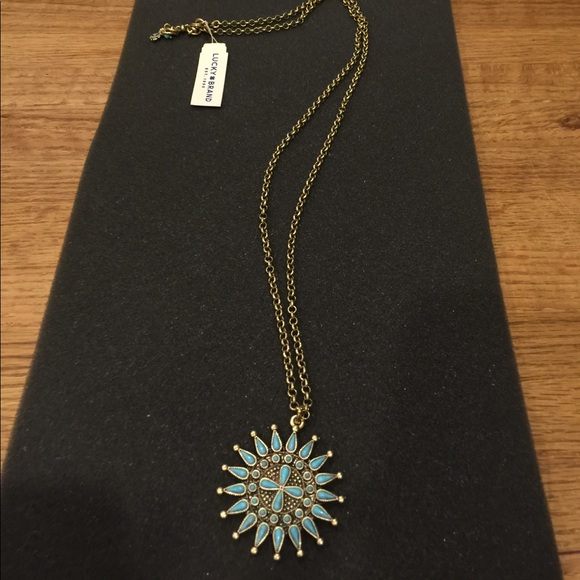 Lucky Brand Jewelry - NWT Lucky Brand Turquoise/Gold Pendant Necklace