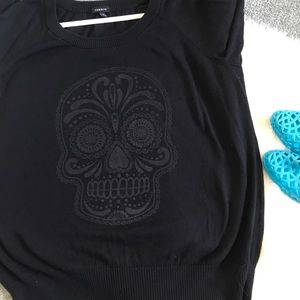 torrid Sweaters - Torrid Sugar Skull Graphic Black Pullover