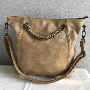 Tan color suede leather large handbag