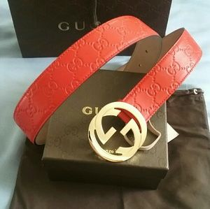 Gucci Other - 🌟NWT Gucci Belt Red Guccissima w/ Gold Buckle
