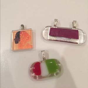 3 pack of glass jewelry charms