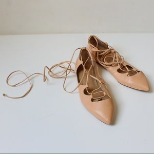 Banana Republic Nude Leather Lace Up Ballet Flats