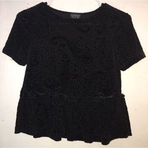 Textured velvet top with paisley pattern