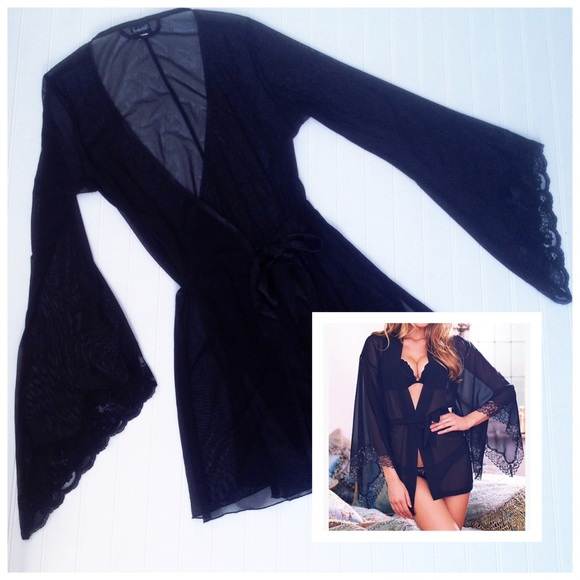 01b0ca00cb Frederick s of Hollywood Other - Sheer black lace bell sleeve kimono short  robe