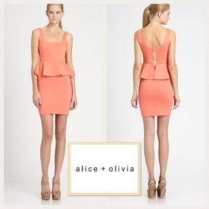 Alice & Olivia Dresses & Skirts - ALICE + OLIVIA Peplum Sleeveless Coral Dress