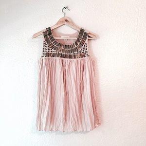 Kenar Tops - Kenar rose blush pink tank top metallic sequin S