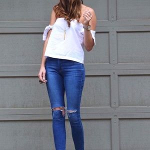 She and Sky Tops - off shoulder with tie sleeves