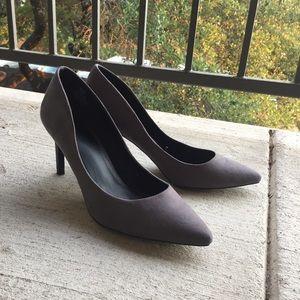 Dark Gray Suede Kitten Heels by H&M